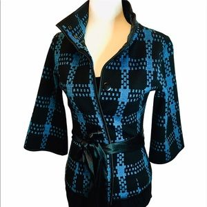 LE CHATEAU Blazer Blue & Black Plaid Blazer XXS